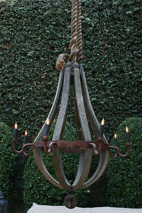 Rustic Outdoor Chandelier Rope Hung Forged Iron Chandelier Garden Accessories Pinterest Gardens Industrial And Wine
