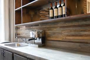 Wood Kitchen Backsplash Back Splash Made From Reclaimed Wood The Contrast Created By The Rustic Wood And Modern