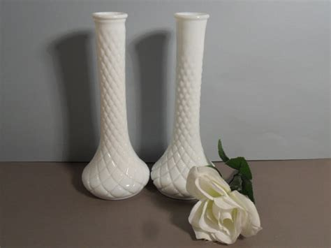 Vintage Glass Vases For Weddings by Vintage White Milk Glass Vases Wedding Instant By