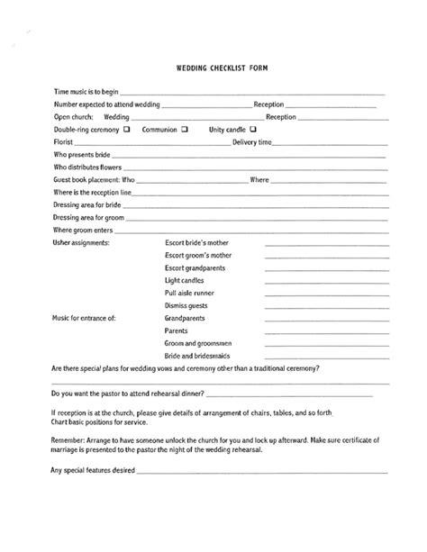 Wedding Checklist Form by Blank Wedding Checklist Form Free