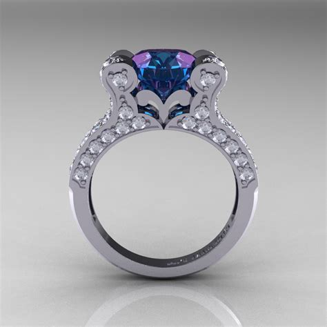 french vintage 14k white gold 3 0 ct russian alexandrite