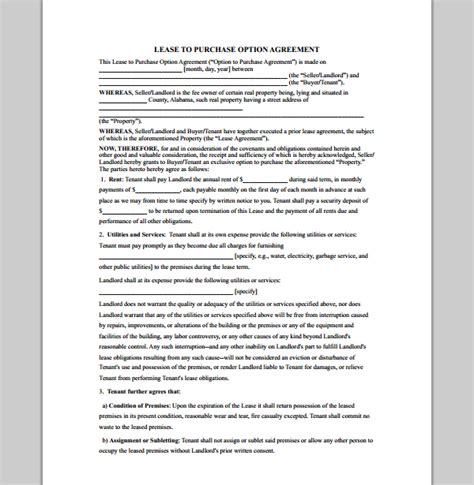 Purchase Template For Lease Contract Format Of Lease Purchase Contract Template Sle Templates Lease Option Template