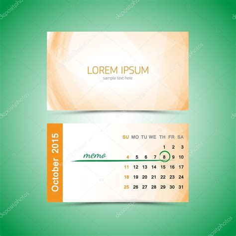 2015 business card calendar template 명함 달력 서식 파일 2015입니다 10 월 스톡 벡터 169 beerlogoff2 48519365