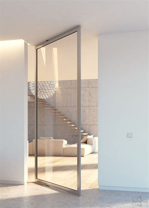 modern glass pivot door with offset axis pivoting hinges