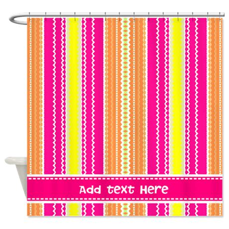 hot pink chevron curtains hot pink white chevron personalized shower curtain by