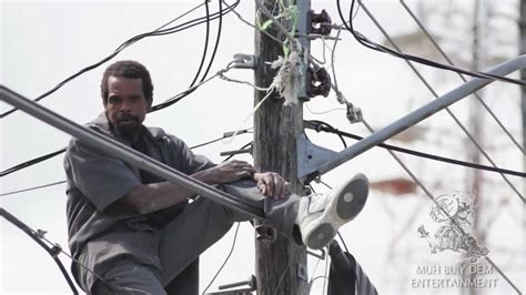 electrical on live wire crackhead dances up high on live electrical wire
