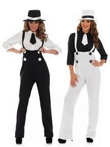 ladies pinstripe gangster suit costume fancy dress up