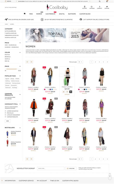 shopify themes classic coolbaby shopify responsive original theme by etheme