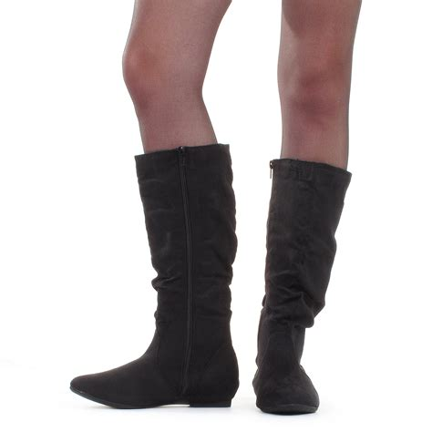 womens flat slouch knee calf high black suede style boots