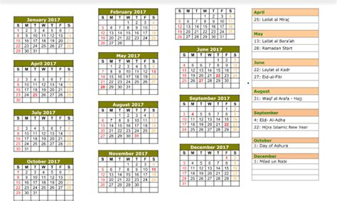 Calendar 2018 And Arabic Hijri Calendar 2017 Printable 2017 Calendars