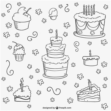 free vector birthday doodle birthday cakes doodles vector free