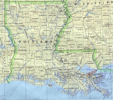 louisiana on map of the usa detailed map of louisiana state louisiana state detailed