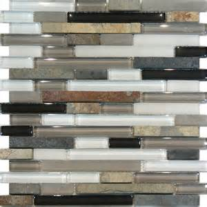 sle slate glass gray white linear mosaic tile