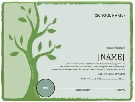 Free School Certificate Templates For Word school attendance certificate template microsoft word
