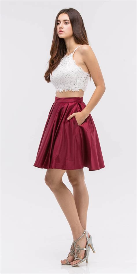 Jaket Dc Mix Navy Maroon Bigsize lace crop top pleated skirt navy white two