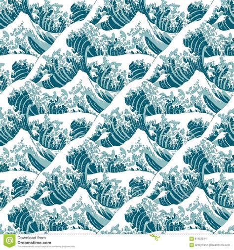 seamless pattern of the great wave off kanagawa stock