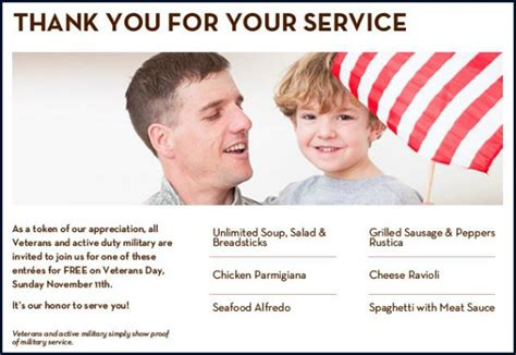 Olive Garden Veterans Day by Top 10 Veterans Day 2012 Free Food Specials
