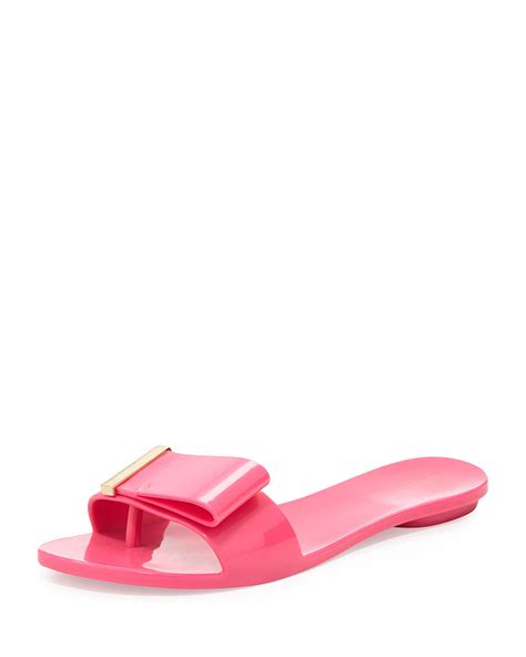 pink sandals with bow lovely bow flat slide jelly sandal in pink lyst