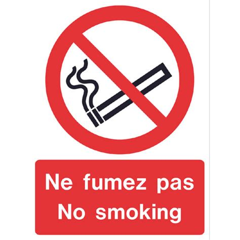 No Smoking Sign In French | multi lingual sign french no smoking ref p210 archer