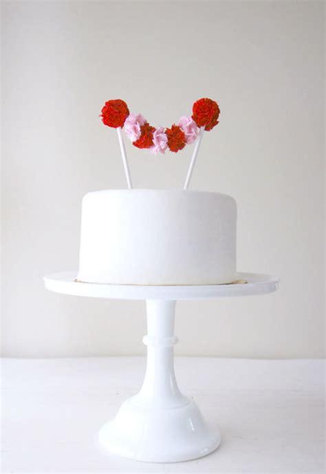 Handmade Cake Topper - pom pom wedding cake toppers from potter and butler