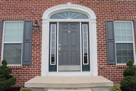 exterior window shutter and black front door design with two sidelights picture decofurnish