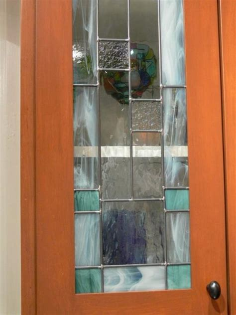 stained glass cabinet doors stained glass cabinet door teal by serina