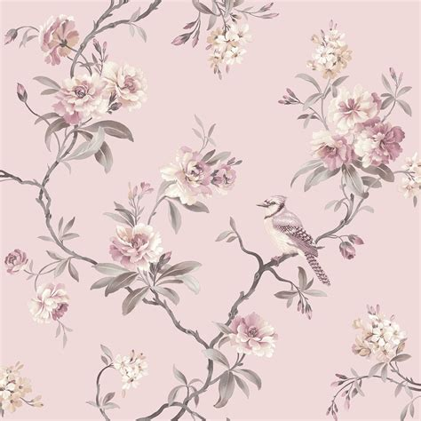 fine decor chic floral chinoiserie bird wallpaper in grey