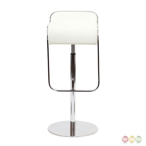 White Leather And Chrome Bar Stools by Lem Modern Italian Leather Bar Stool With Chrome Frame White