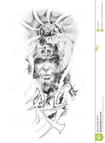 Sketch Design Online Tattoo Art Sketch Of A Japanese Warrior Royalty Free