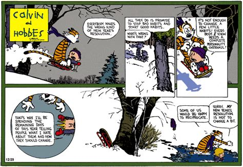 calvin and hobbes new years resolution run travel december 2012
