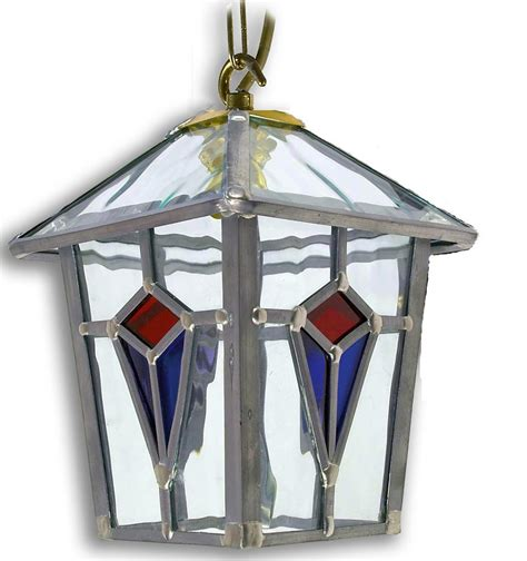 Handmade Outdoor Lighting - ascot handmade and blue leaded glass hanging porch lantern