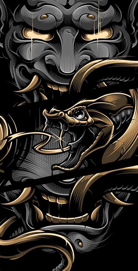 blackout brother hannya samurai artwork japanese