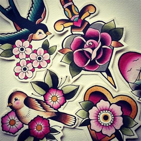 girly bird tattoo designs neo traditional flower tattoos zoeken