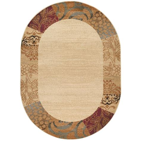 7 x 9 oval area rugs tayse rugs elegance beige 6 ft 7 in x 9 ft 6 in oval indoor area rug 5202 ivory 7x10 oval