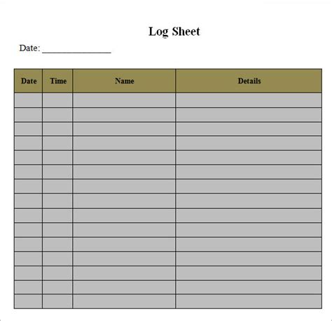 Log Sheet Template by 16 Sle Log Sheet Templates Sle Templates