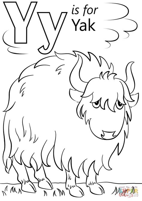Letter Y Coloring Page by Letter Y Is For Yak Coloring Page Free Printable