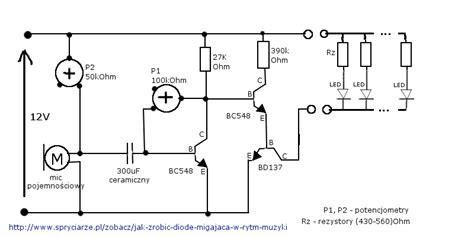 dioda w rytm muzyki kolorofon z lek choinkowych mikrofon elektroda pl