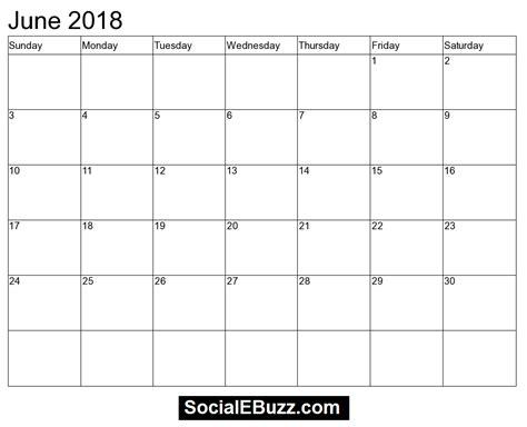 calendar 2018 june printable blank june month template in excel