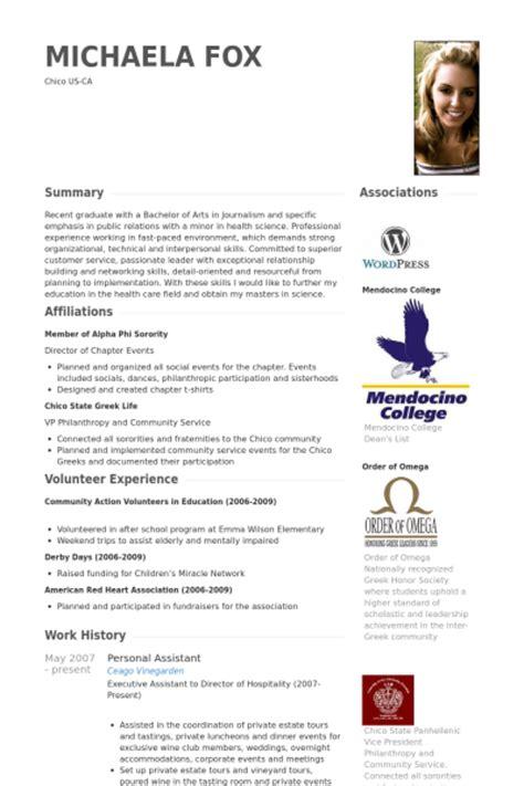 exle curriculum vitae personal assistant personal assistant resume sles visualcv resume