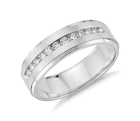 channel set wedding ring in 14k white gold 1 3 ct