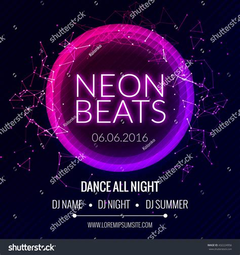 party music modern club music neon beats party stock vector 432224956