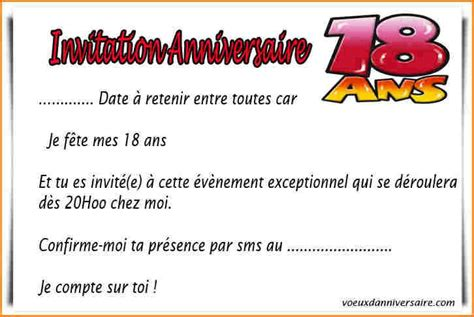 idee texte invitation anniversaire 18 ans fille