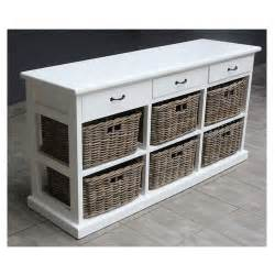Shelves with baskets paris wood amp wicker 3 drawers 6 baskets storage