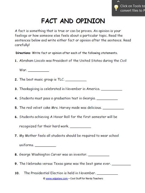 Fact And Opinion Worksheets by Fact And Opinion Worksheets For Students Edgalaxy Cool Stuff For Nerdy Teachers