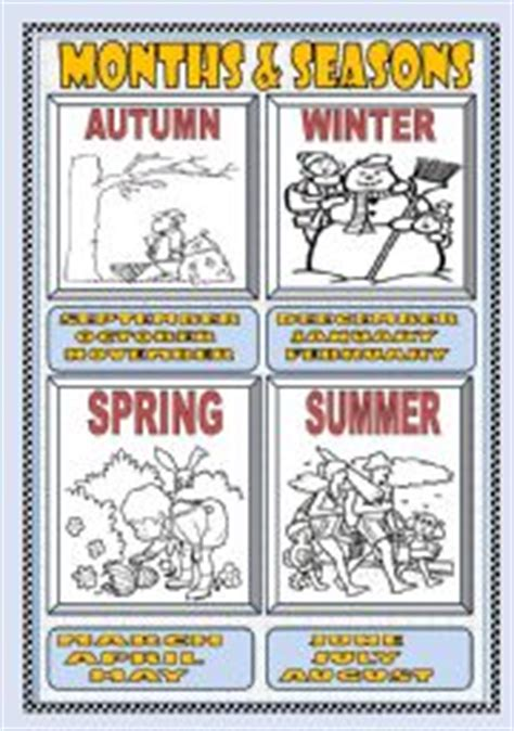 printable seasons poster esl worksheets for adults months and seasons poster