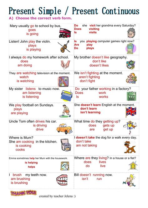 present simple vs present continuous interactive worksheet