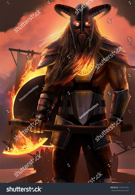 viking fire boat viking fire god standing with axe with drakkar ship sunset