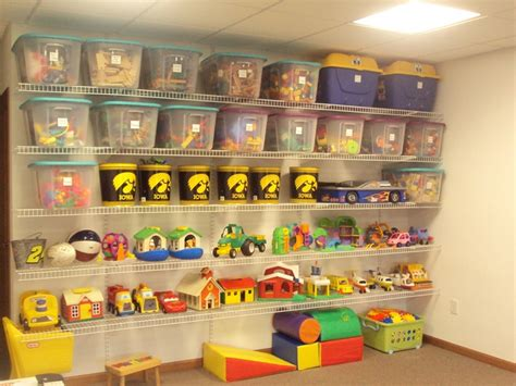 how to organize toys a organized playroom wire shelving from lowes some totes