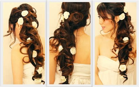 How to make romantic half up updo hairstyle with curls for