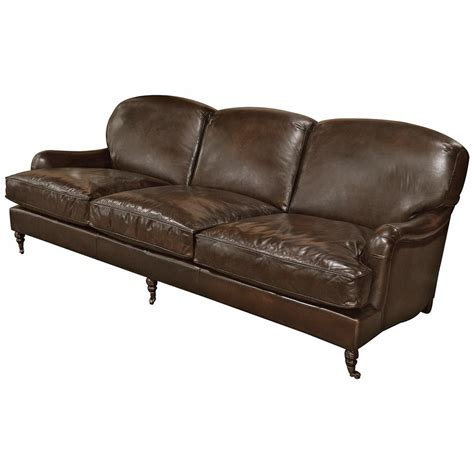 Wood And Leather Sofas Colden Industrial Loft Brown Leather Wood Sofa Kathy Kuo Home